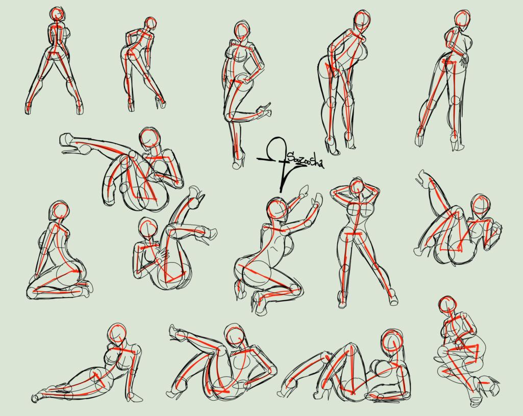 Squelette et formes de bases pour dessiner des personnages