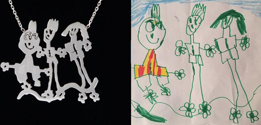 pendentif à partir du dessin d'un enfant