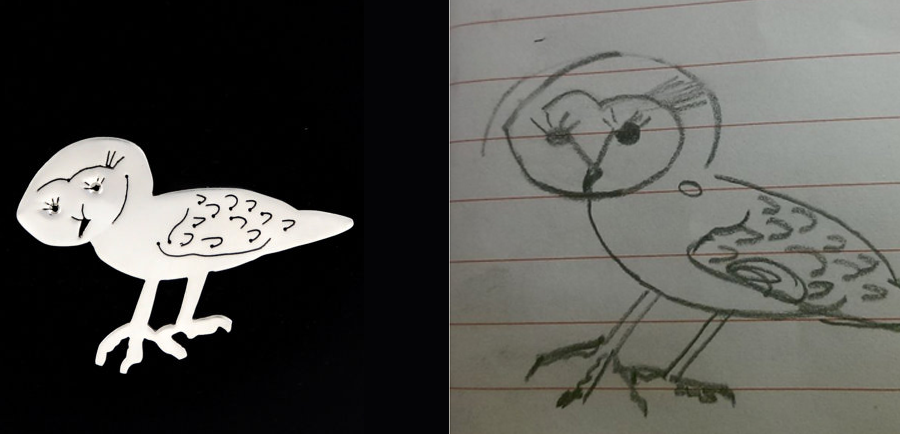 dessin d'une chouette et création du pendentif